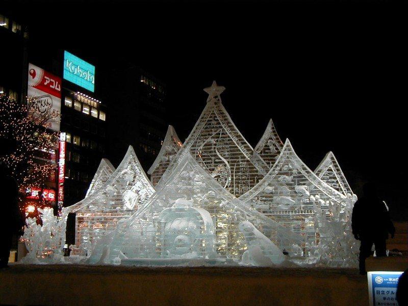 Magnificent ice sculpture in Sapporo Ice Festival