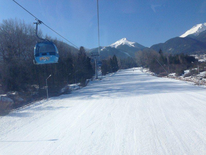 A ski slope in the ski town of Bansko