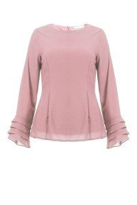 Poplook meena fitted tiered sleeve blouse in dusty pink