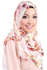 Poplook rectangle chiffon tudung headscarf cream floral
