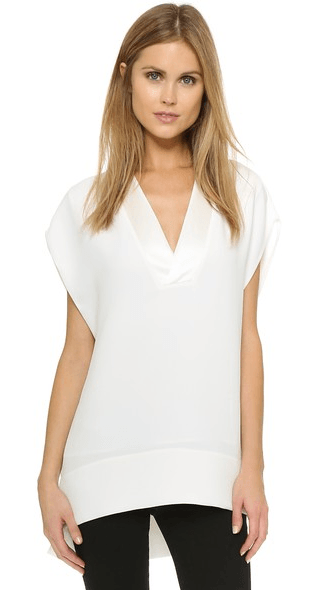 Vince Satin Trim V-neck Top
