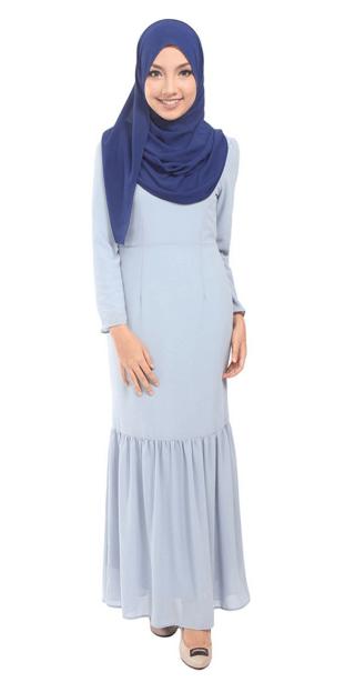 The Suraya Mermaid Chiffon Maxi Dress in Blue Fog