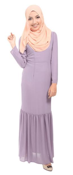 The Suraya Mermaid Chiffon Maxi Dress in Deep Lavender