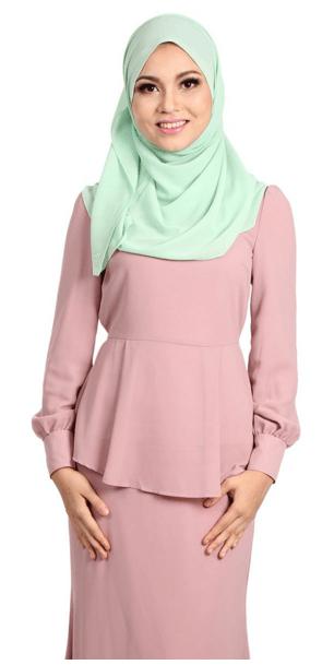 Daliya Peplum Chiffon Top - Dusty Pink