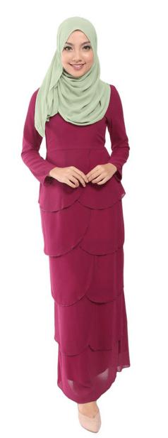 Syafika Scallop Chiffon Jubah Dress - Grape
