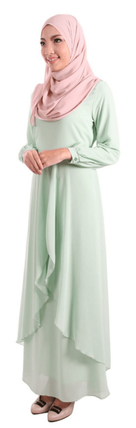 Erina Front Slit Chiffon Maxi Dress - Seafoam
