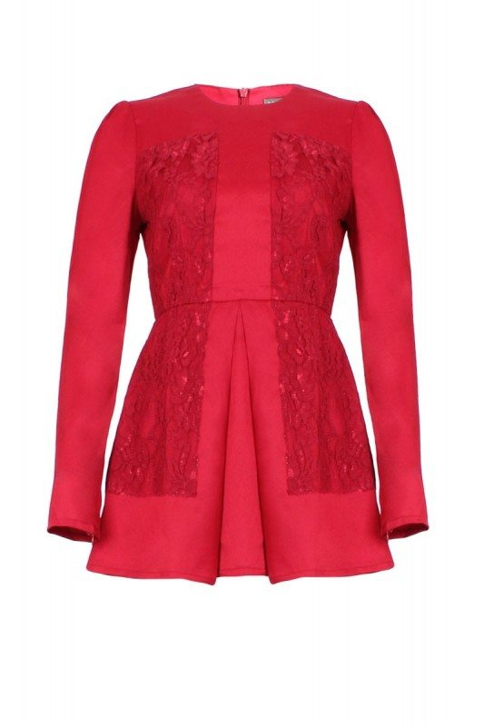 Poplook arisha lace peplum top in red