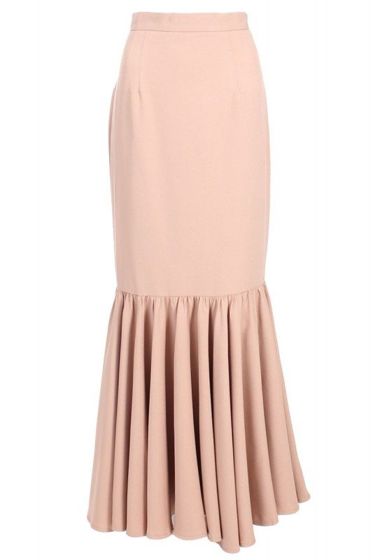 Poplook kaelyn structured mermaid skirt in nude