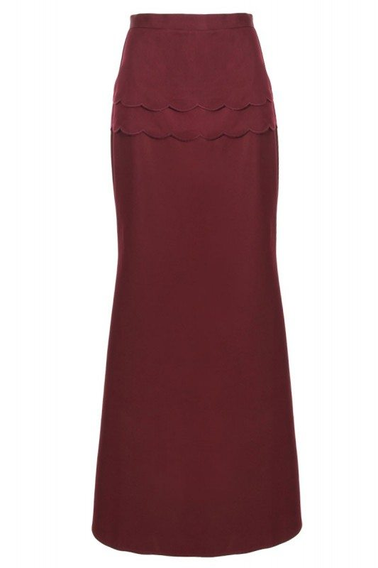Poplook armida scallop waist maxi skirt in burgundy