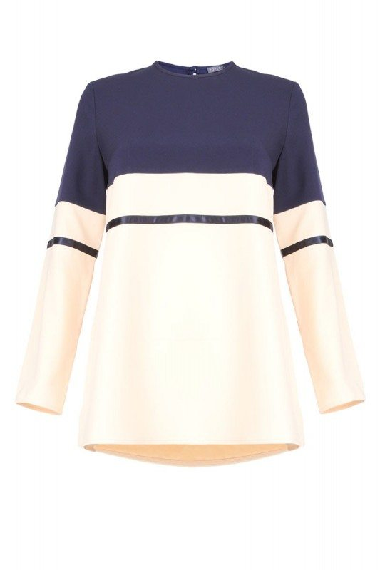 Poplook kyrel colourblock blouse in navy and cream